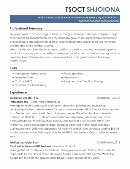 Territory Manager resume template Utah