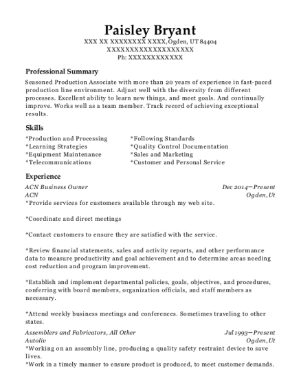 ACN Business Owner resume example Utah