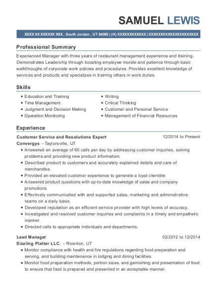 Customer Service and Resolutions Expert resume example Utah