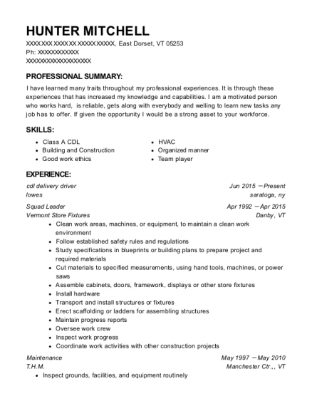 cdl delivery driver resume sample Vermont