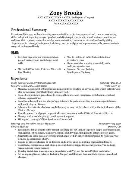 Client Services Manager resume format Vermont