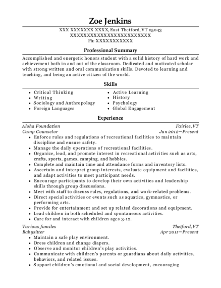 Camp Counselor resume sample Vermont