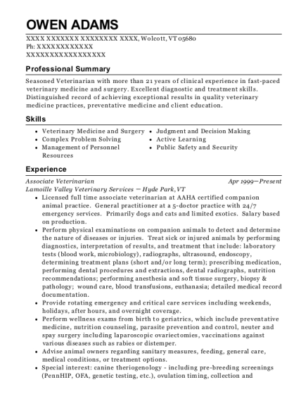 Associate Veterinarian resume template Vermont