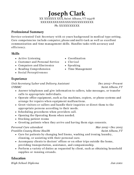 Unit Secretary resume sample Vermont
