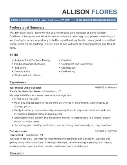 Warehouse Area Manager resume format Vermont