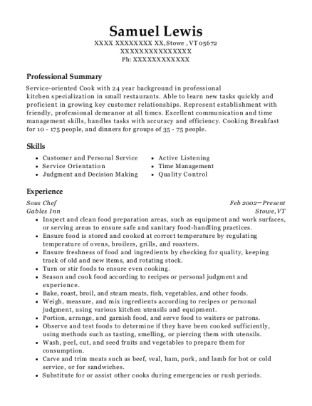 Sous Chef resume format Vermont