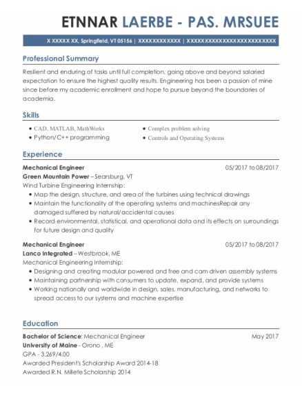 Mechanical Engineer resume template Vermont