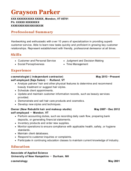 cosmetologist resume format Vermont