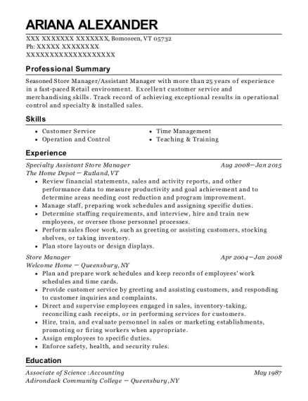 Specialty Assistant Store Manager resume example Vermont