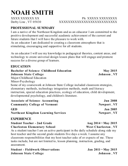 Student Teacher 2nd Grade resume template Vermont