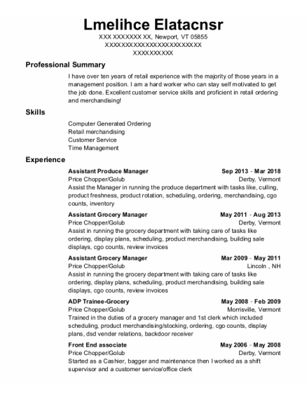 Assistant Produce Manager resume format Vermont