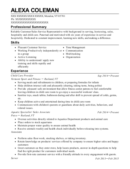 Child Care Provider resume template Vermont