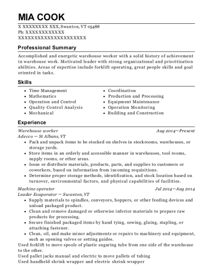 Warehouse Worker resume format Vermont
