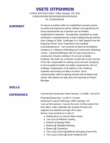 Commercial Construction Site Foreman resume format VIC