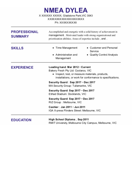 Leading Hand resume template VIC