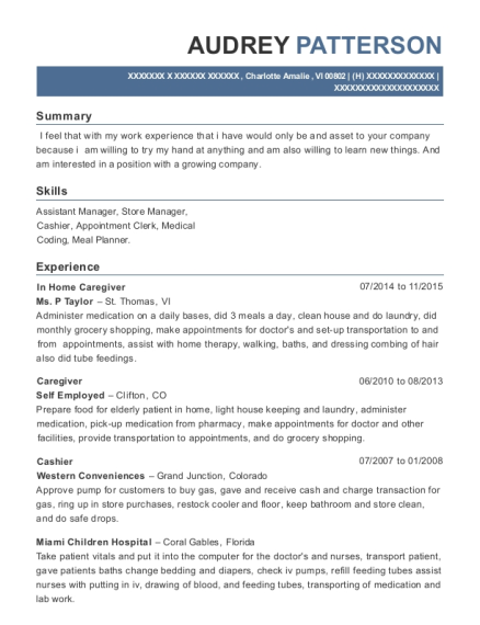 In Home Caregiver resume sample Virgin Islands