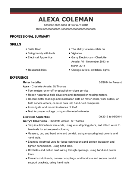 Meter Installer resume format Virgin Islands