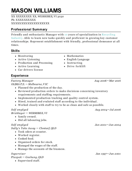 Factory Manager resume example Virgin Islands