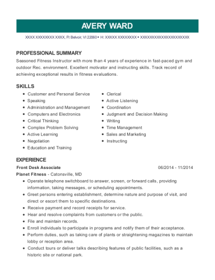 Front Desk Associate resume format Virgin Islands