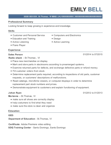 Sales Person resume example Virgin Islands