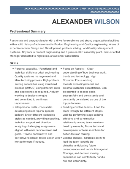 Quality Engineering Manager resume sample Virginia