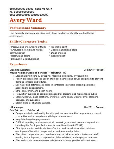 Cleaning Assistant resume example Virginia