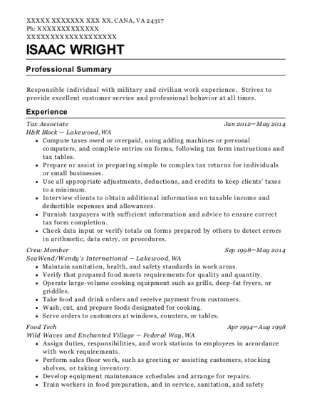 Tax Associate resume sample Virginia