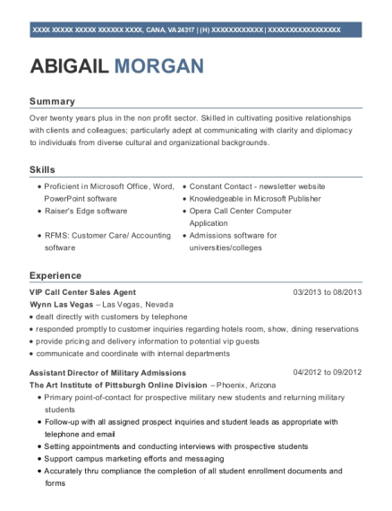 Wynn Las Vegas Vip Call Center Sales Agent Resume Sample