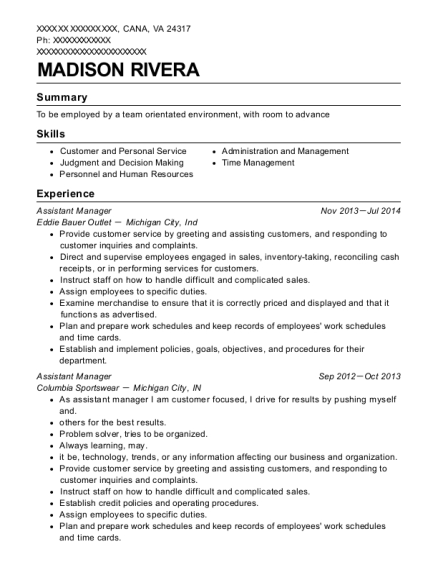 Assistant Manager resume template Virginia