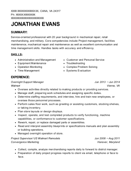 Overnight Support Manager resume example Virginia
