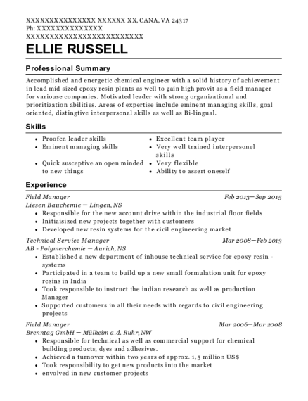 Field Manager resume template Virginia