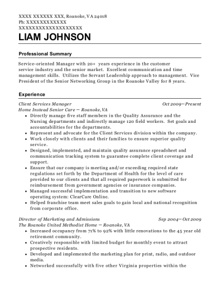 Client Services Manager resume sample Virginia