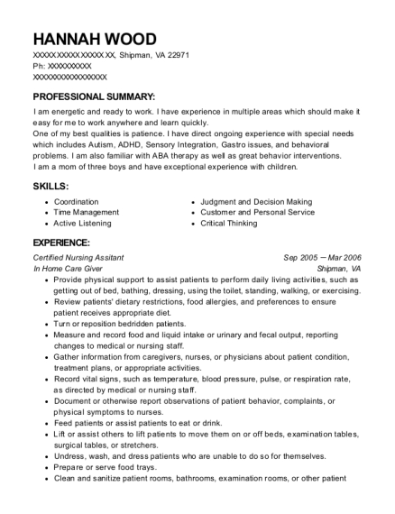 Certified Nursing Assitant resume template Virginia