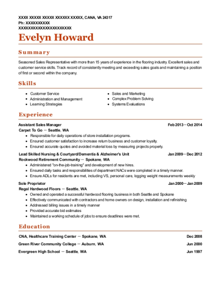 Assistant Sales Manager resume sample Virginia