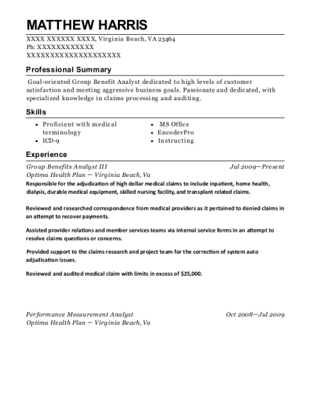 Optima Health Plan Group Benefits Analyst Iii Resume Sample