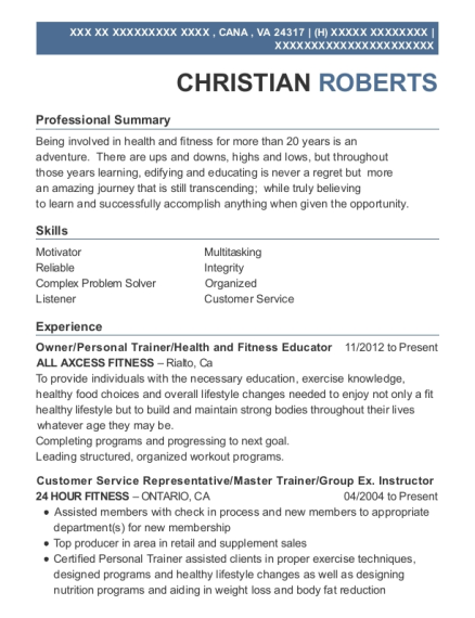 Owner resume format Virginia