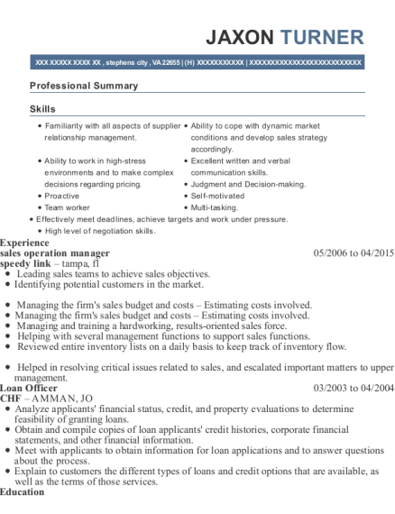 sales operation manager resume sample Virginia
