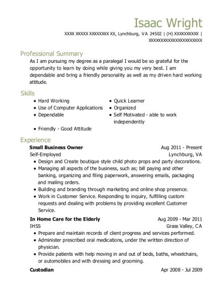 Small Business Owner resume sample Virginia