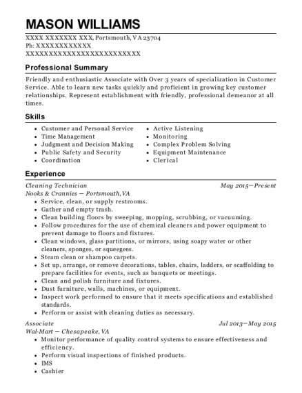 Cleaning Technician resume format Virginia