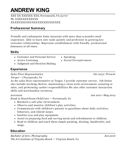 Sales Floor Representative resume example Virginia