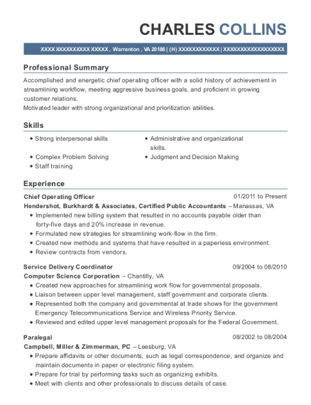 Chief Operating Officer resume example Virginia