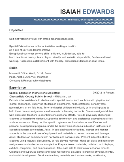 Special Education Instructional Assistant resume sample Virginia