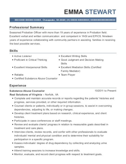 Substance Abuse Counselor resume sample Virginia