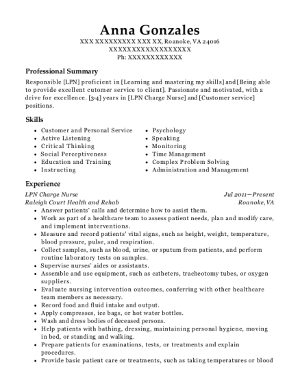 LPN Charge Nurse resume template Virginia