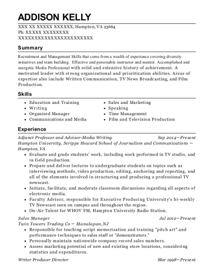 Adjunct Professor and Advisor Media Writing resume sample Virginia