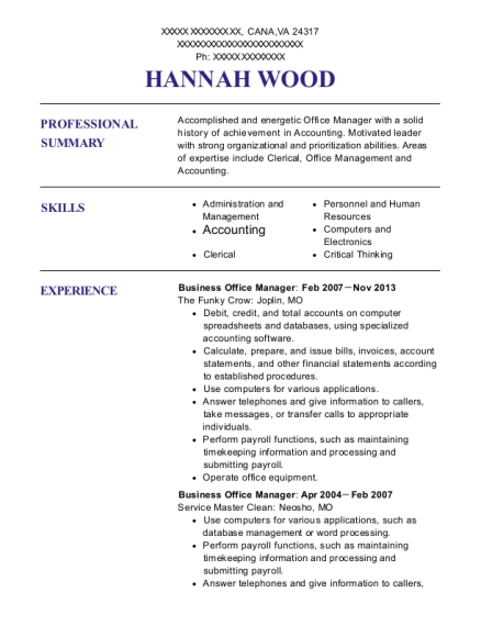 Business Office Manager resume sample Virginia