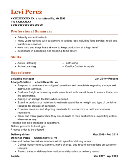 Shipping Manager resume template Virginia