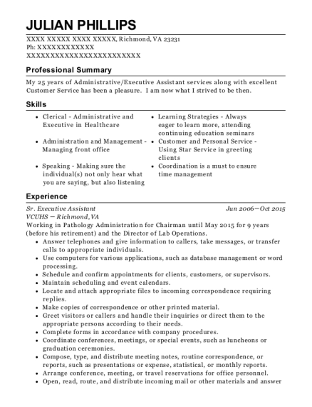 Sr Executive Assistant resume example Virginia