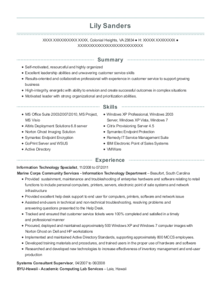 Information Technology Specialist resume format Virginia