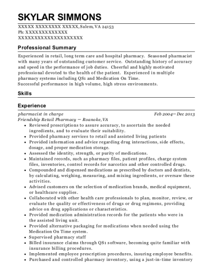 Pharmacist in Charge resume example Virginia